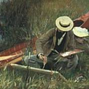 Paul Helleu Sketching With His Wife Art Print