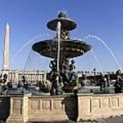 Public Fountain At The Place De La Concorde In Paris France Art Print