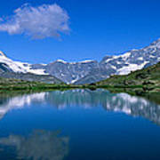 Reflection Of Mountains In Water Art Print