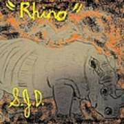 Rhino Art Print by Joe Dillon