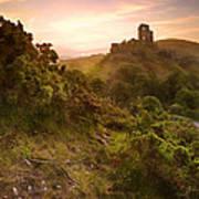 Romantic Fantasy Magical Castle Ruins Against Stunning Vibrant S Art Print