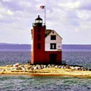 Round Island Lighthouse Straits Of Mackinac Michigan Art Print