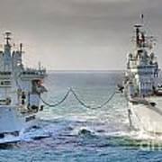 Royal Navy Aircraft Carrier Hms Ark Royal Conducts A Replenishment At Sea  Art Print