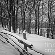 Rural Winter Scene With Fence Art Print