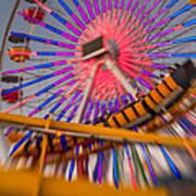 Santa Monica Pier Ferris Wheel And Roller Coaster At Dusk Art Print