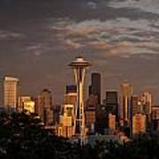 Seattle Skyline With Space Needle And Stormy Weather Art Print