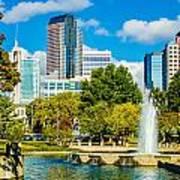 Skyline Of A Modern City - Charlotte North Carolina Usa Art Print