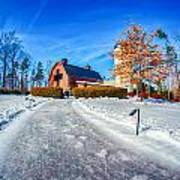 Snow Around Billy Graham Library After Winter Storm Art Print