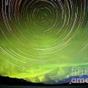 Star Trails And Northern Lights In Night Sky Art Print