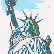 Statue Liberty - Pop Stylised Art Poster Art Print