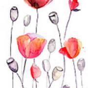 Stylized Poppy Flowers Illustration  Art Print
