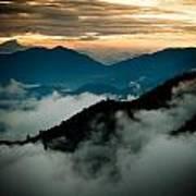 Sunset Himalayas Mountain Nepal Panaramic View Art Print