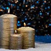 Three Gold Candles In Snow  Art Print