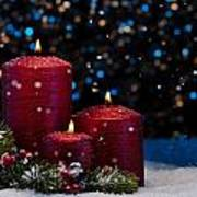 Three Red Candles In Snow  Art Print