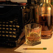 Typewriter And Whiskey Art Print