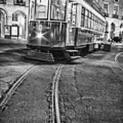 Typical Lisbon Tram In Commerce Square Art Print