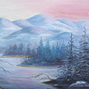 Winter In The Mountains Art Print by Glenda Barrett