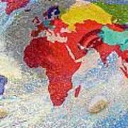 World Map And Barack Obama Stars Art Print