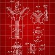 Zipper Patent 1914 - Red Art Print