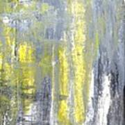 Placed - Grey And Yellow Abstract Art Painting Art Print