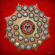 33 Scottish Rite Degrees On Red Leather Art Print