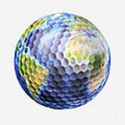 3d Rendering Of A Planet Earth Golf Art Print
