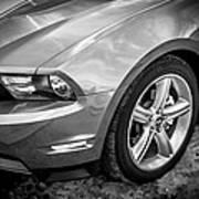 2010 Ford Mustang Convertible Bw Art Print