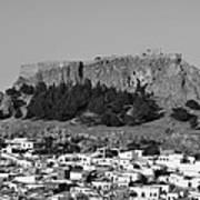 Acropolis And Village Of Lindos Art Print