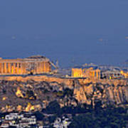 Acropolis Of Athens During Sunrise Art Print