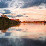 Beautiful Sunset Over Autumn Fall Lake With Crystal Clear Reflec Art Print