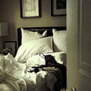 Bedroom Scene With Under Garments On Bed Art Print