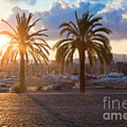 Boats In The Harbor Of Barcelona Art Print