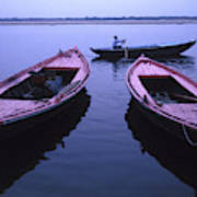 Boats On The Ganges River Art Print