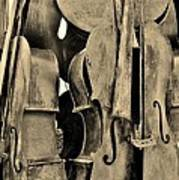 4 Cellos Sepia Art Print