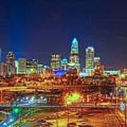 Charlotte City Skyline Night Scene Art Print