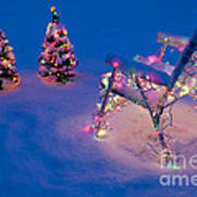 Christmas Lights On Trees And Lawn Chair Art Print