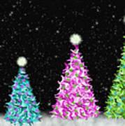 4 Christmas Trees Art Print