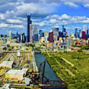 City At The Waterfront, Lake Michigan Art Print