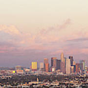 Elevated View Of City At Dusk, Downtown Art Print