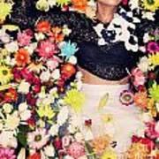 Fashion Model Posing With Flowers Art Print