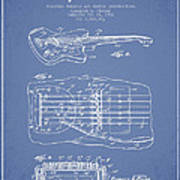 Fender Floating Tremolo Patent Drawing From 1961 - Light Blue Art Print by Aged Pixel