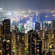 Hong Kong Harbor From Victoria Peak At Night Art Print