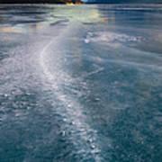 Ice Pattern On Frozen Abraham Lake Art Print