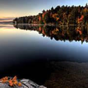 Lake In Autumn Sunrise Reflection Art Print
