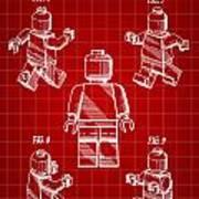 Lego Figure Patent 1979 - Red Art Print