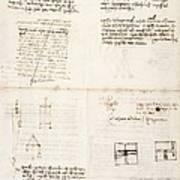Leonardo Da Vinci's Notes Art Print