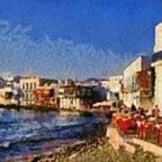 Little Venice In Mykonos Island Art Print