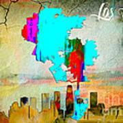 Los Angeles Map And Skyline Art Print