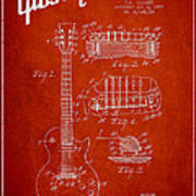 Mccarty Gibson Les Paul Guitar Patent Drawing From 1955 - Red Art Print