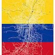 Medellin Street Map - Medellin Colombia Road Map Art On Colored  Art Print